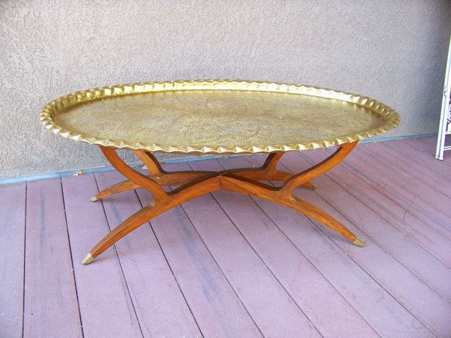 46 Quot Oval Moroccan Brass Tray Table Antique Turkish Ottoman
