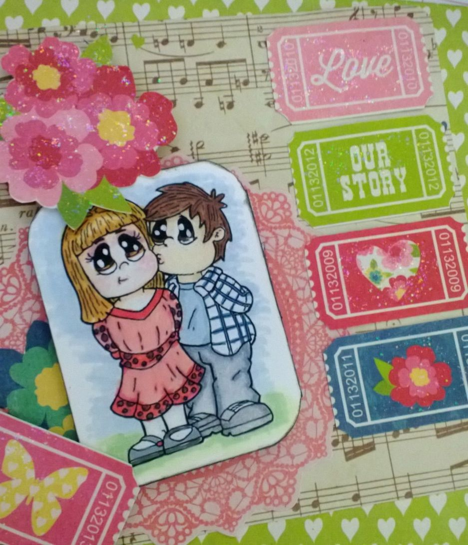 """Stamp: """"The Kiss from Stamp.A.Hoot, card created by Marisol Gómez"""