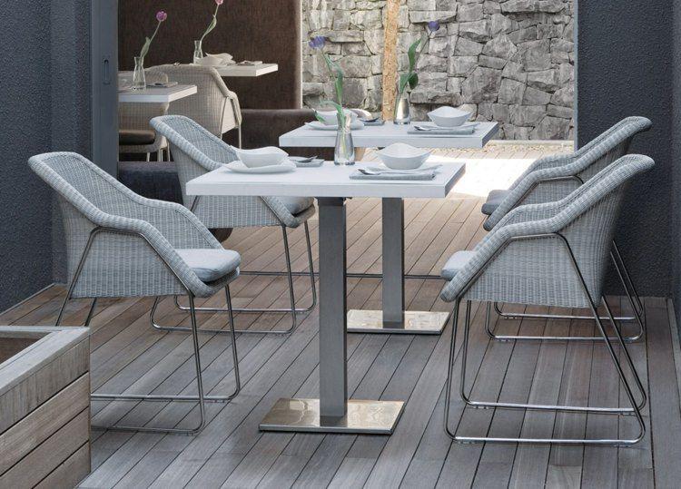 Metall-Tisch-Stühle-handgewebt-weiß-modernjpg (750×539) Garten - gartenmobel weis metall
