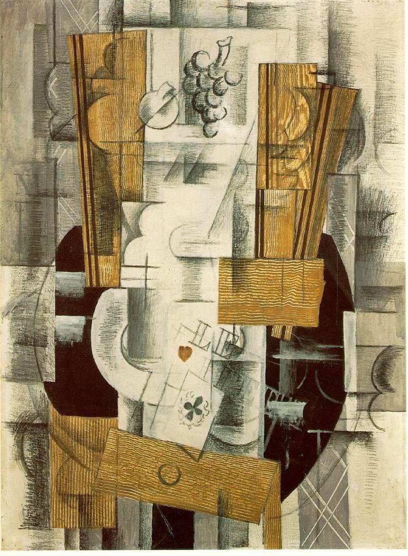 Georges Braque Plat De Fruits Et Cartes 1913 Huile Avec