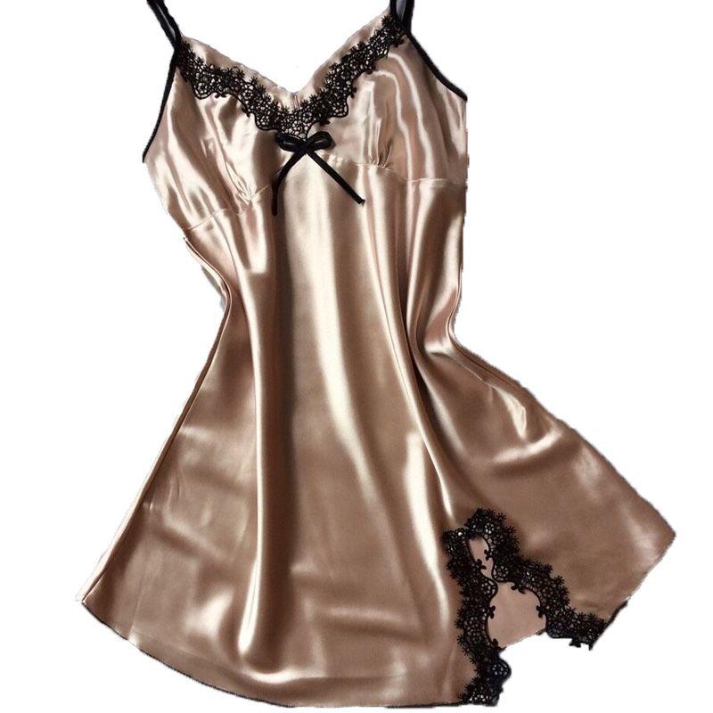 29e99a4641  12.56 - Nice Ladies Sexy Silk Satin Night Dress Sleeveless Nighties V-neck  Nightgown Plus Size Nightdress Lace Sleepwear Nightwear For Women - Buy it  Now!