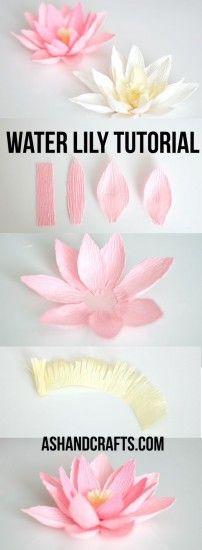 Flores De Loto Con Papel Crepe Tutorial De Flores De Papel Artesanías De Flores Flor De Paper