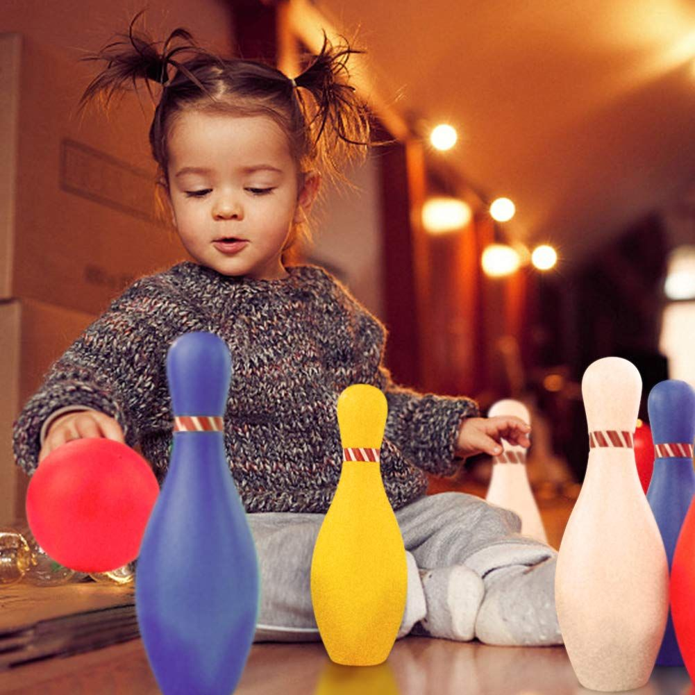 Refasy Kids Bowling Toys Set Bowling Pins Foam Ball Toy Indoor Games Sports Toys for Toddler