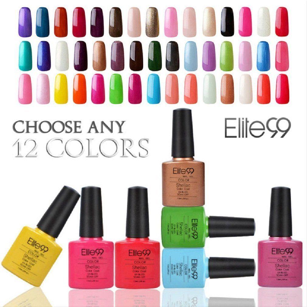 Elite99 (Any 12 Colors) Soak Off Gel Nail Polish UV LED Color Nail ...