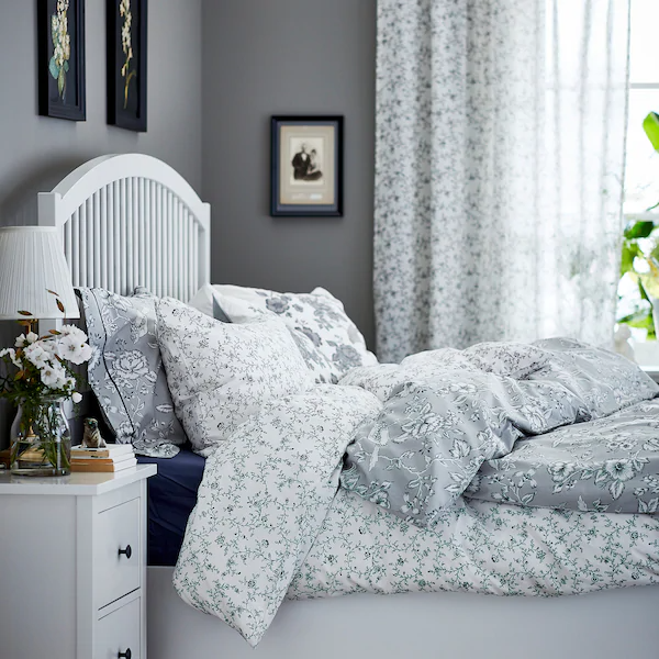 Kopparranka Duvet Cover And Pillowcase S White Dark Gray Twin Ikea In 2021 Ikea Duvet Cover Gray Duvet Cover Ikea