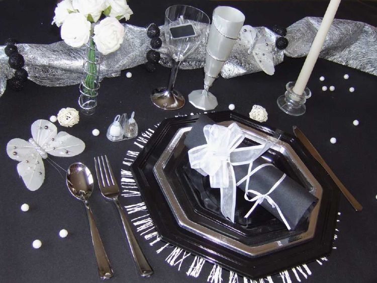 d coration de table chic noire argent d coration de table pinterest decoration