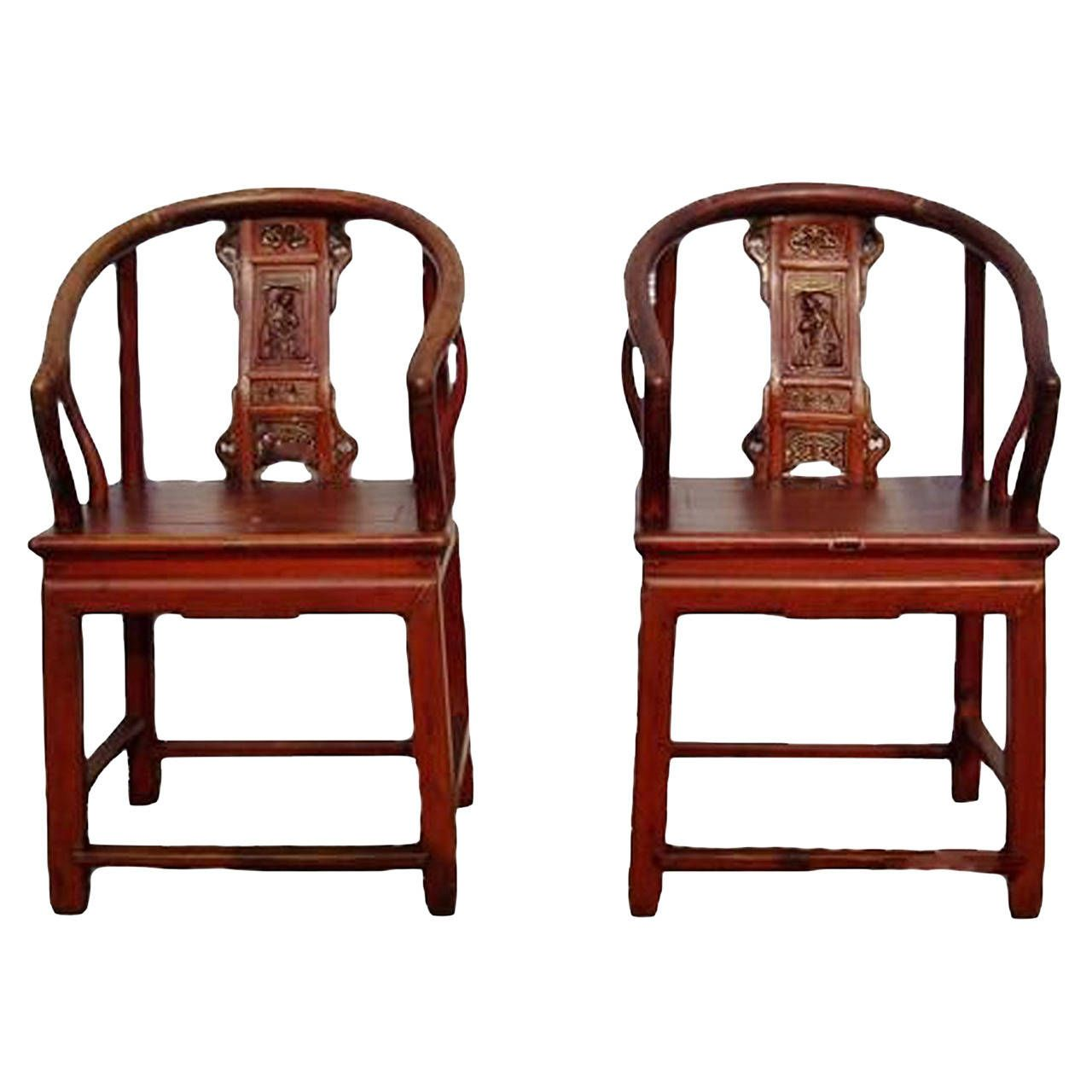 Antique princess chair - 19th Century Pair Of Antique Chinese Princess Horseshoe Chairs From A Unique Collection Of Antique