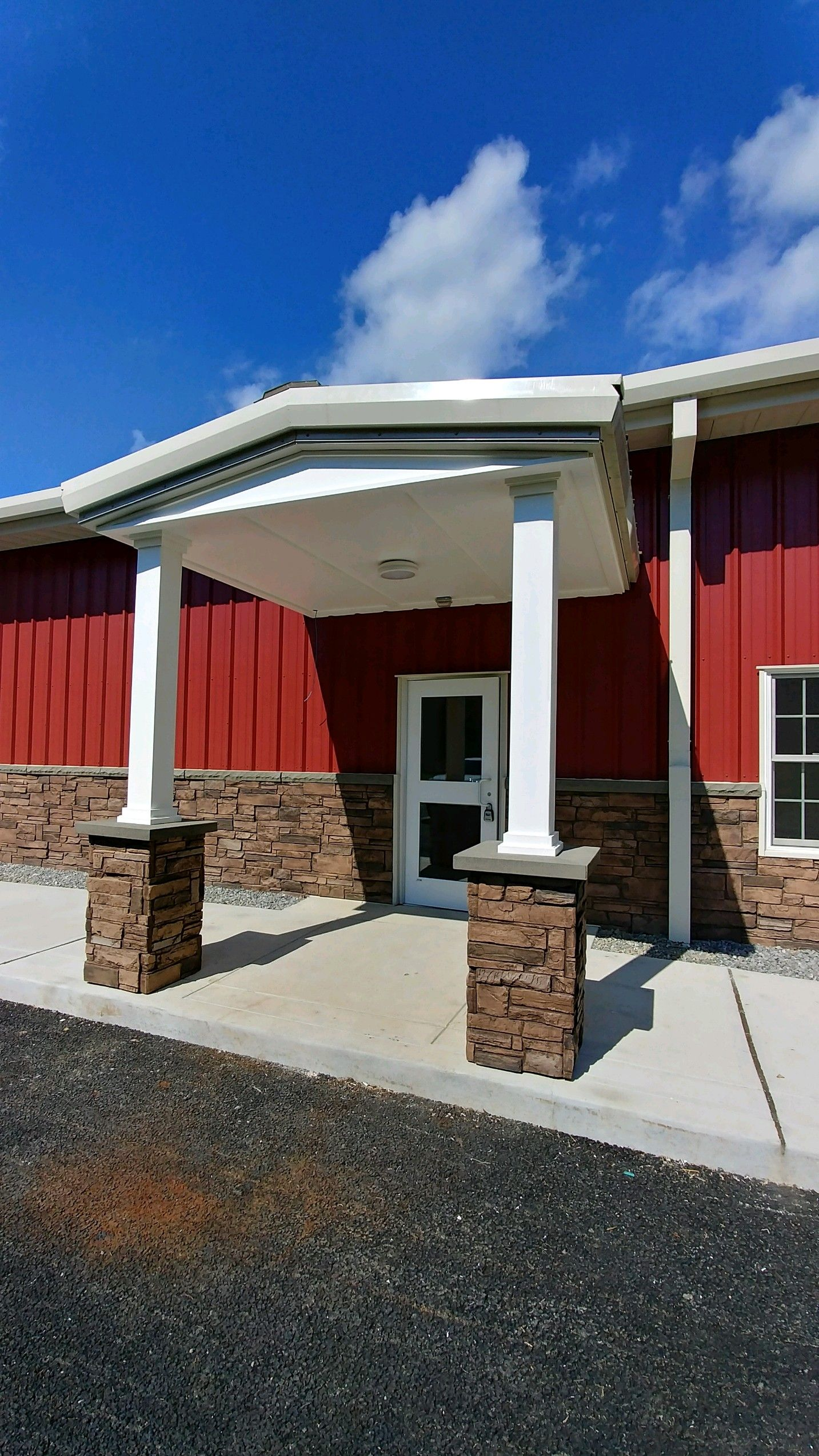 Easy to install wainscot and stone columns. http