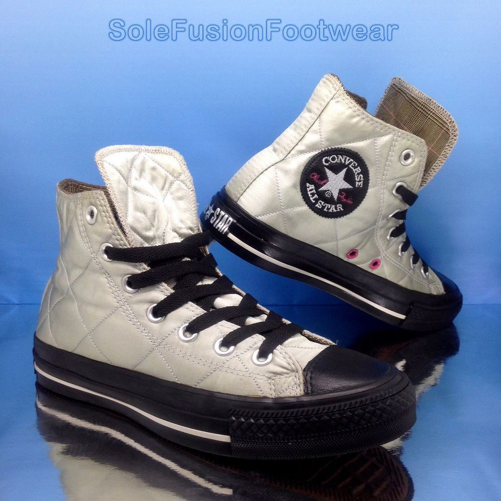 Converse Womens All Star Quilted Trainers Silver Black Size 5 Mens Vtg Us 7 37 5 Ebay Womens Converse Converse Womens Sneakers