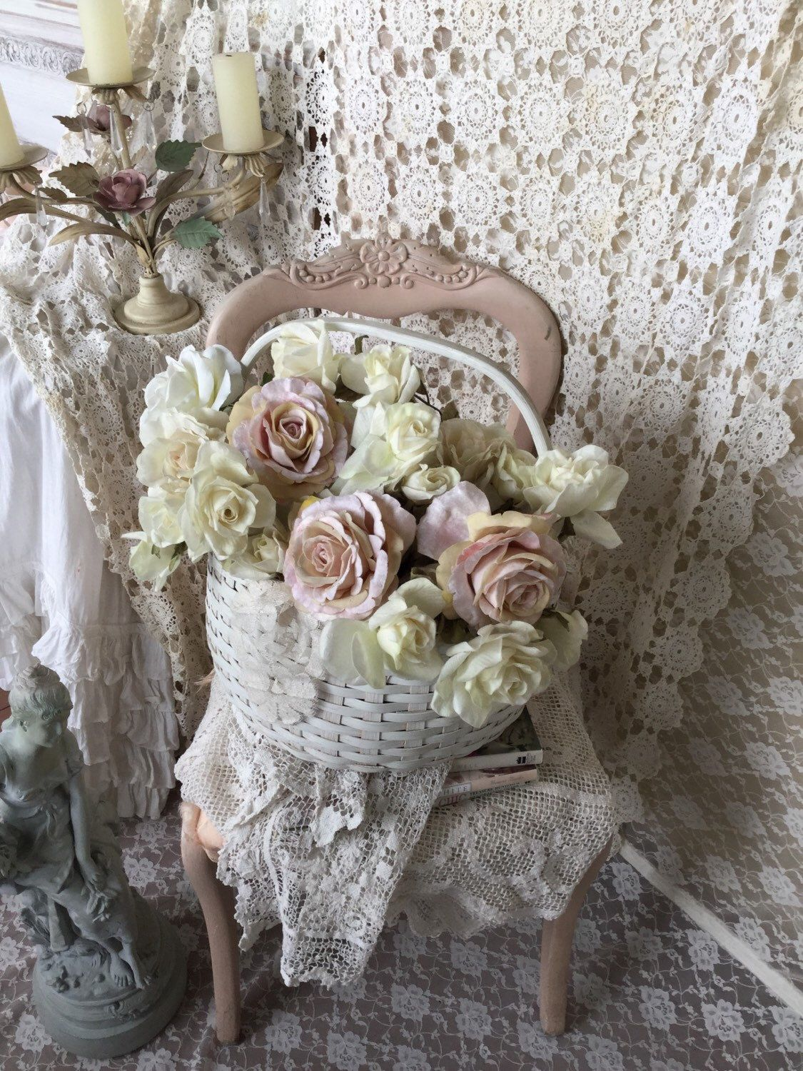 A personal favorite from my Etsy shop https://www.etsy.com/listing/230612193/vintage-white-wicker-shabby-cottage-chic