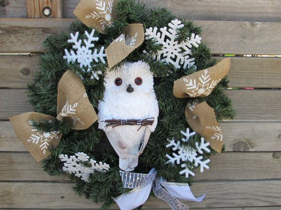 "20"" Christmas Owl Wreath- Winter Owl Wreath- Snowflake Wreath- Burlap Snowflake Wreath- Greenery Christmas Wreath- Christmas Decor"