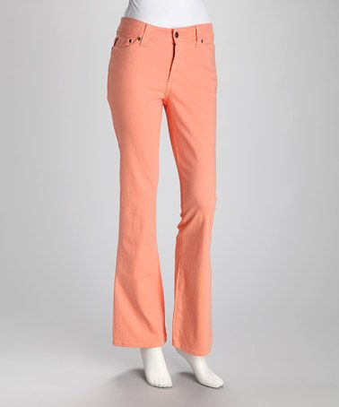 Take a look at this Peach Blossom Bootcut Jeans by Color Me Pink: Apparel & Intimates on #zulily today!