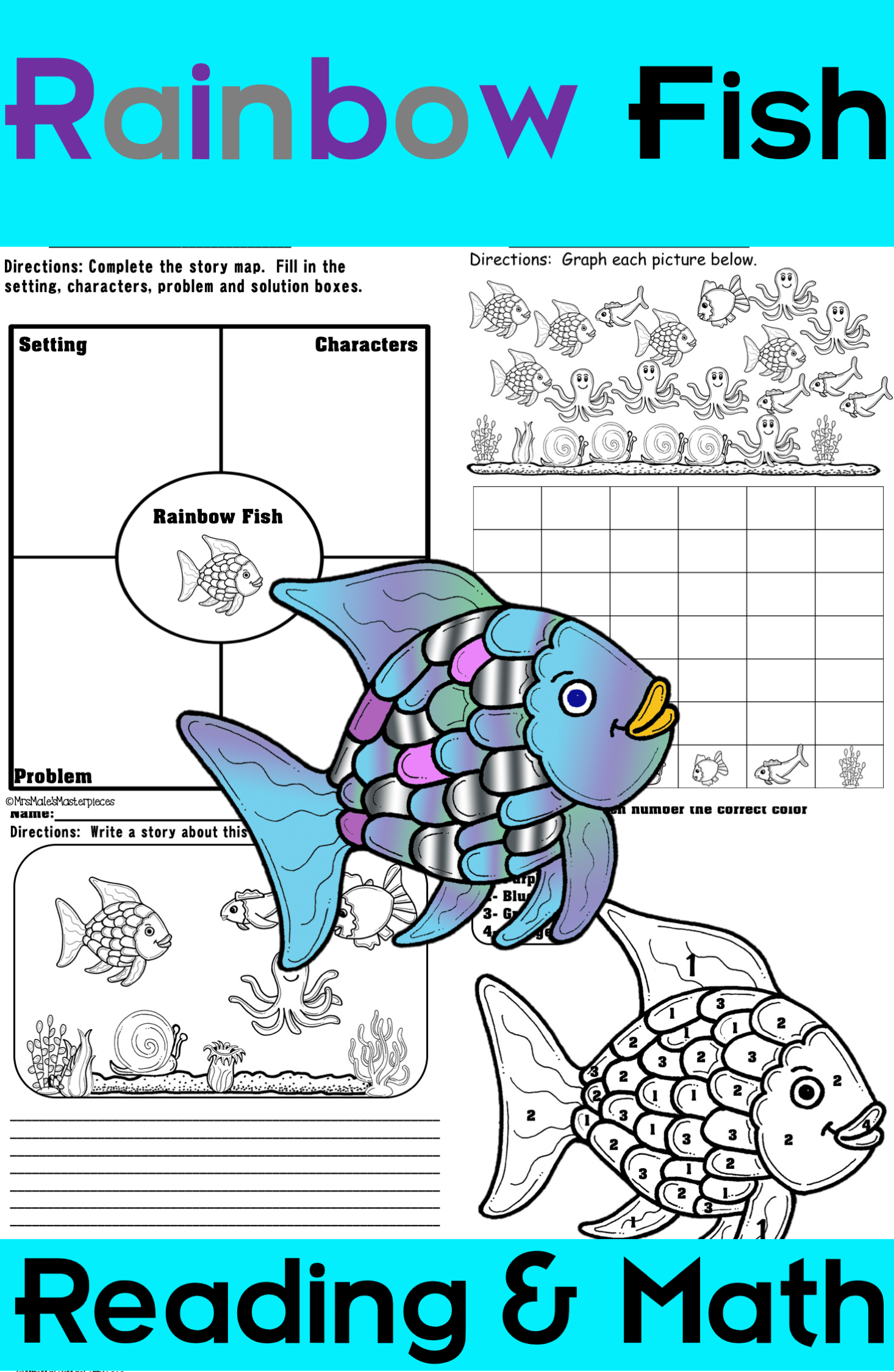 Rainbow Fish Reading And Math Packet