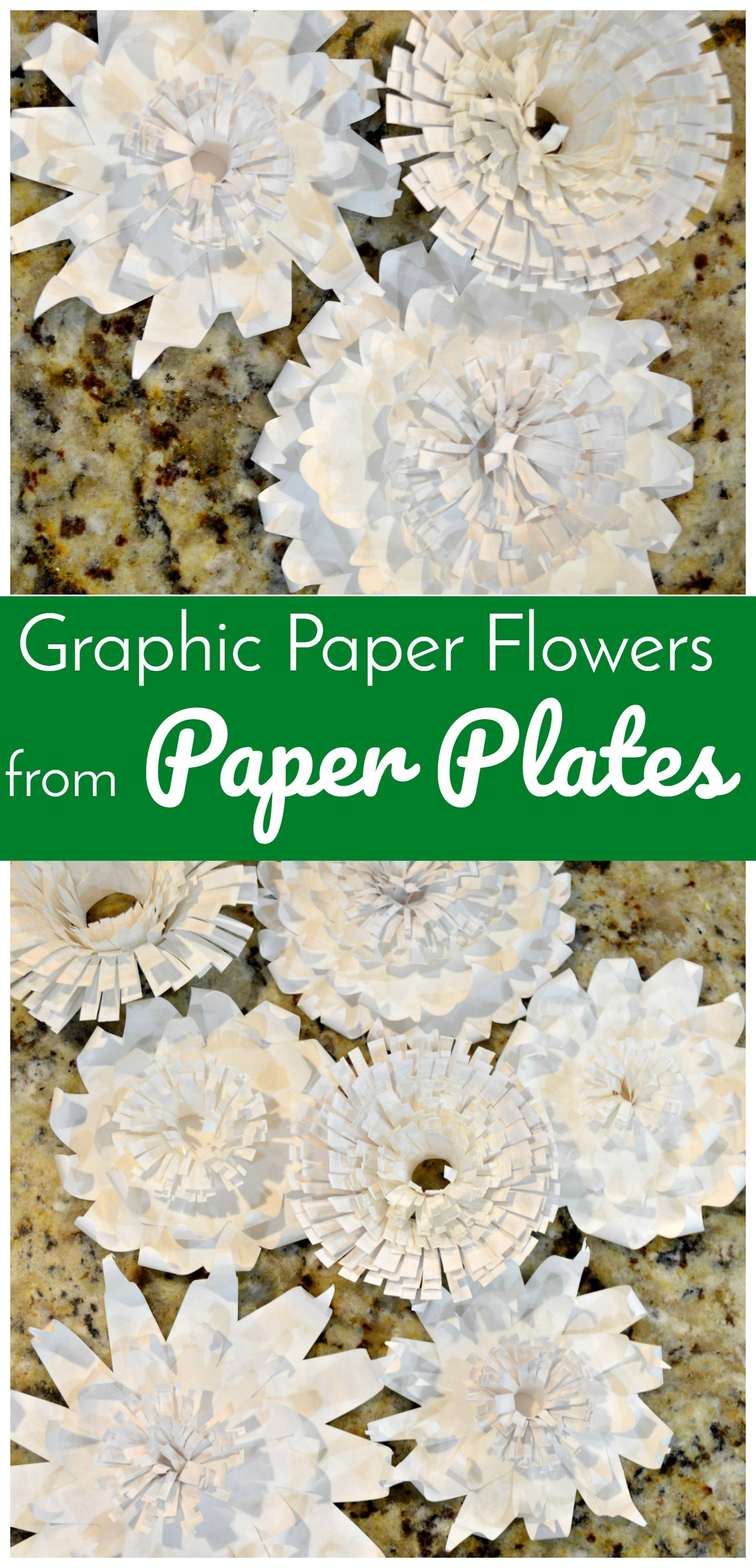 Graphic Paper Flowers From Paper Plates Paper Crafts Pinterest