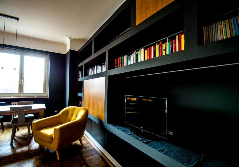 Photo of soggiorno libreria cartongesso nero legno