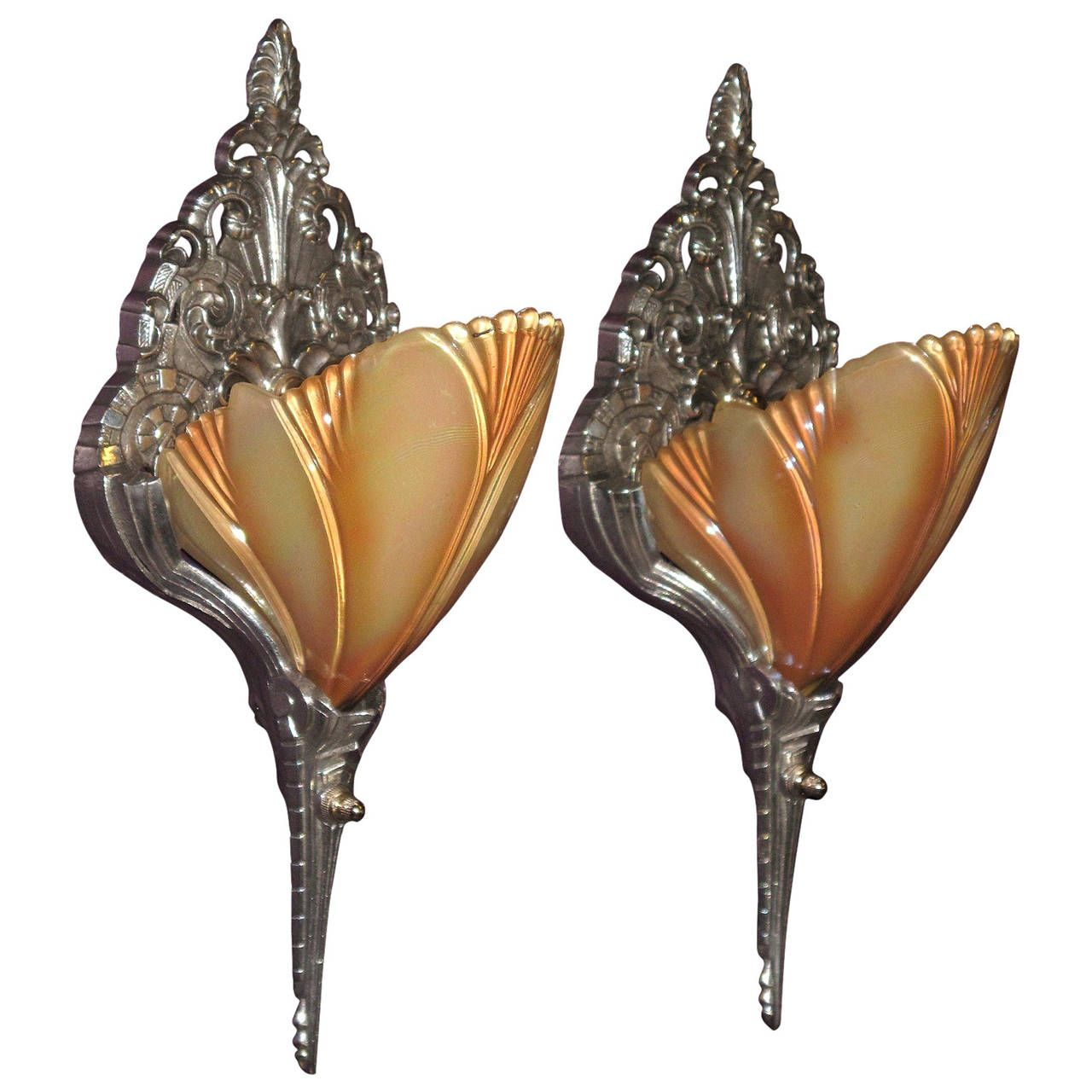 Art Deco Slip Shade Wall Sconces, 1920s-1930s | See more ... on Non Electric Wall Sconce Lights id=70104