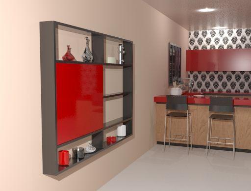 Mesa abatible de pared m6 empotrada en un mueble de sal n hecha con escuadras abatibles m6 - Mesas de pared abatibles ...
