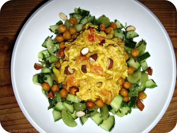 The Creative Pot: Curried Chicken Salad on Spicy Chickpeas