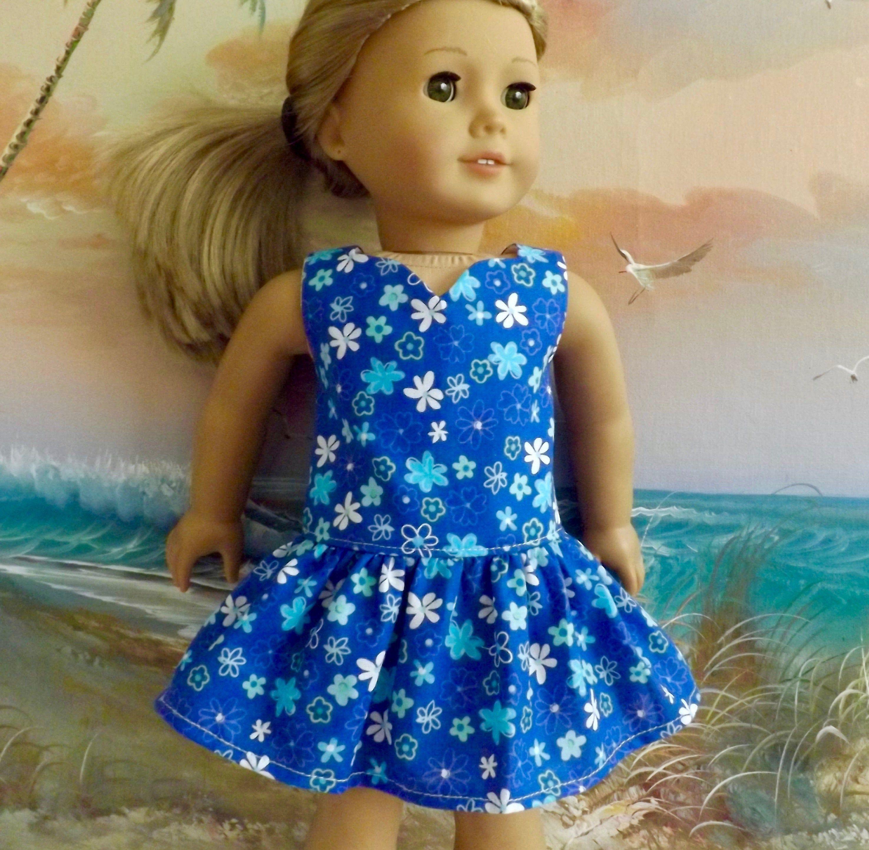 Image result for BLUE FLRAL DOLL DRESS