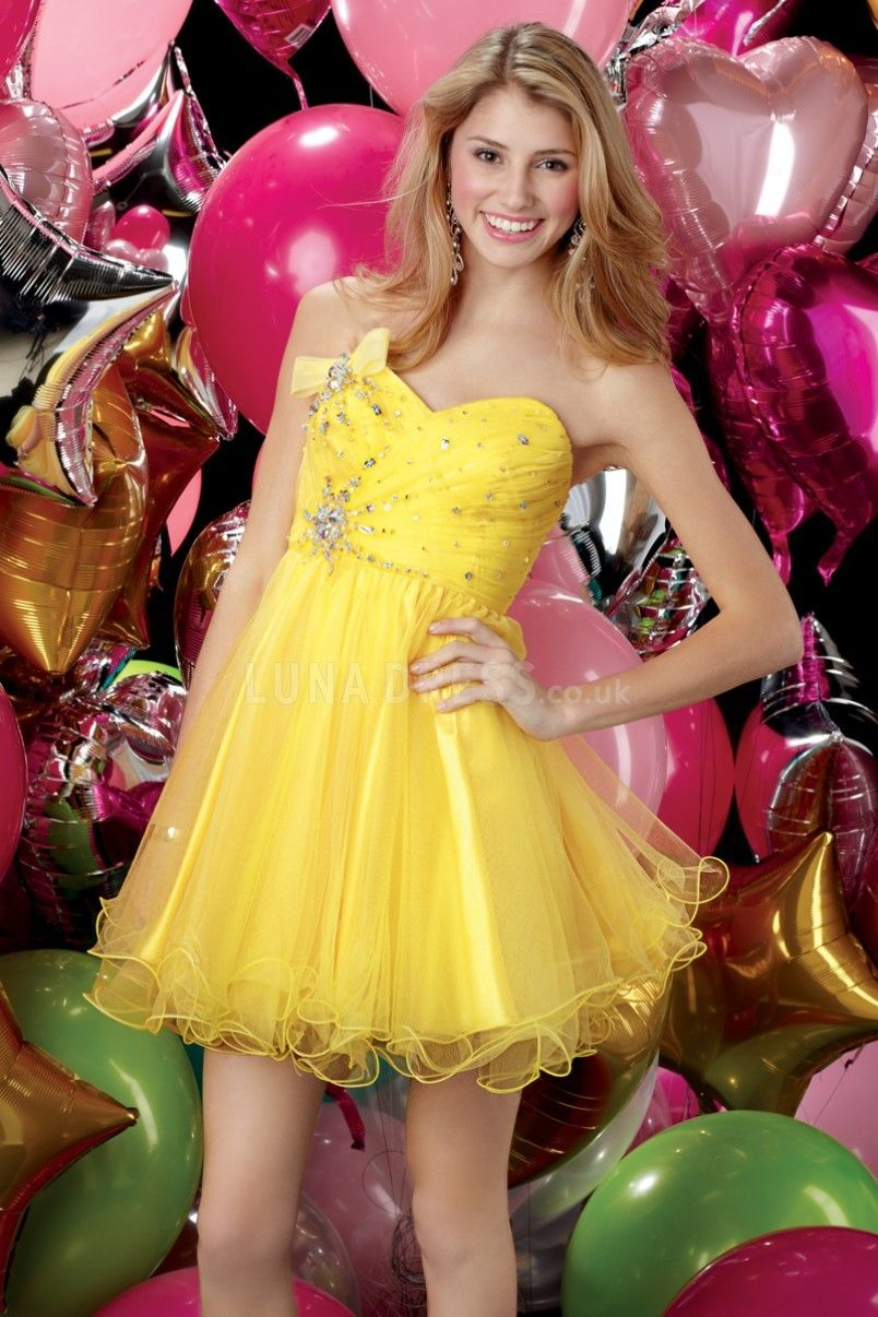 Tulle sweetheart empire short length baby doll prom gown prom