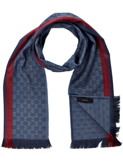 c66d9fbb Gucci Scarf Blue in Blue for Men | Business Look | Gucci scarf, Men ...