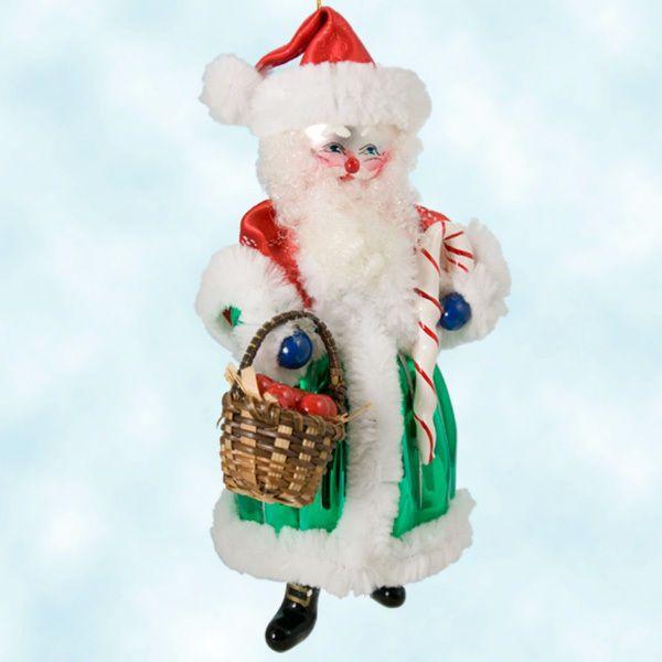 Christopher Radko Ornaments Candy Casper Santa Green Red Basket Christmas 1998