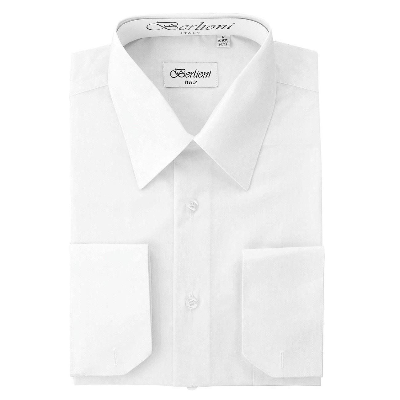 d1eb8a40ff8 Berlioni Italy Men s Dress Shirt French Convertible Cuff Long Sleeve Snow  White