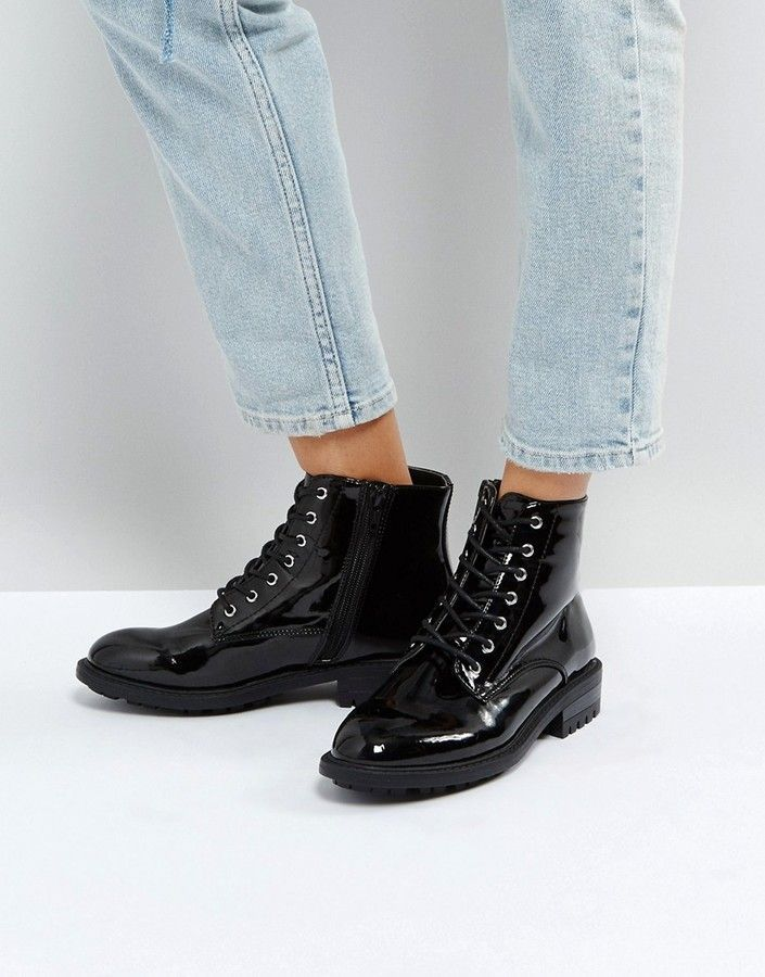 Faith Brent Lace Up Boots #afflink | Black leather boots ...