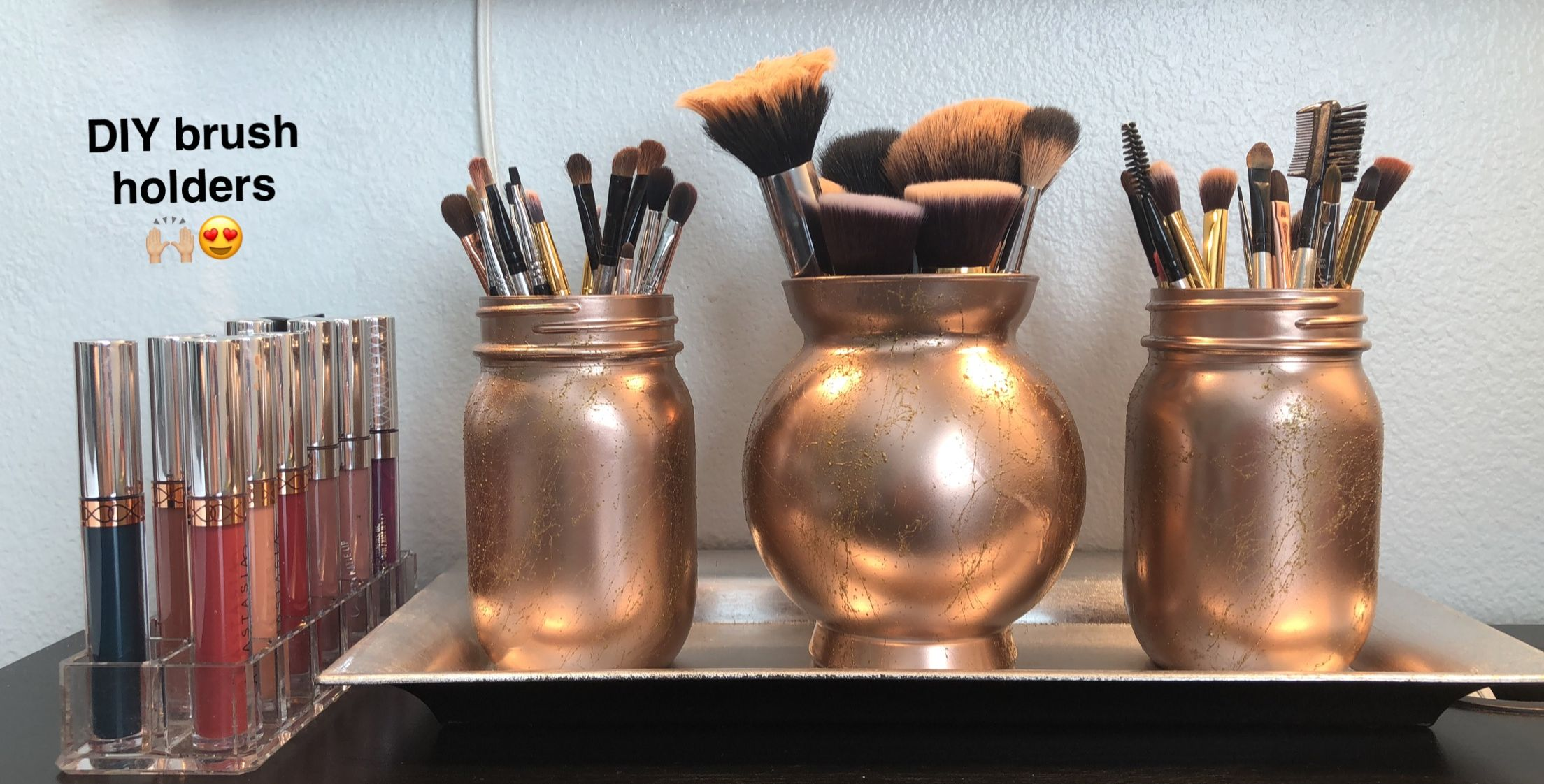 Rose Gold DIY Makeup Brush Holders Diy makeup brush