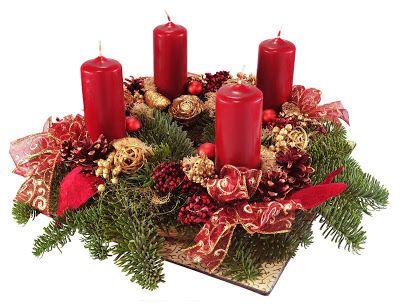 Corona de Adviento con velas rojas para Navidad decoracion