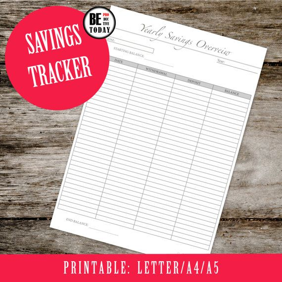 Yearly Savings Tracker Budget Planner A Size Finance Planner