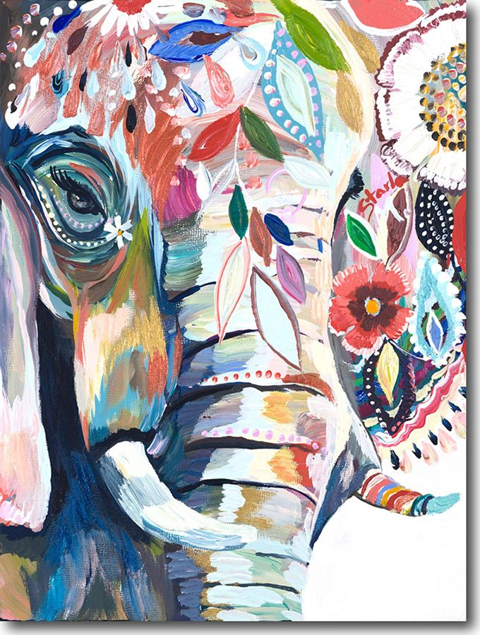 E for Elephant, created by artist Starla Michelle HalfmannThe sacred  Elephant, a long time symbol of luck and prosperity. Glorious colors and  textures fill the canvas. Joy radiates with each brushstroke within this  beautiful painting. FREE GROUND SHIPPING IN THE UNITED STATES! Orders ship  wi