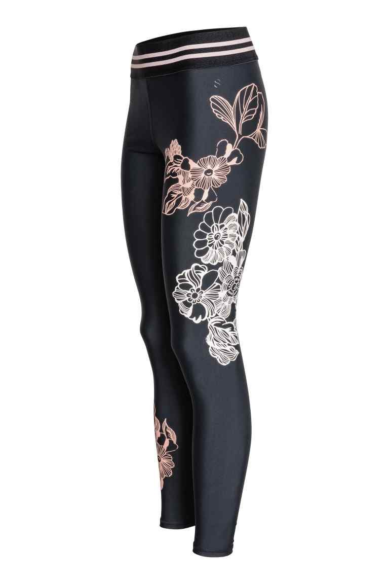 Sports tights - Black/Floral - Ladies | H&M GB