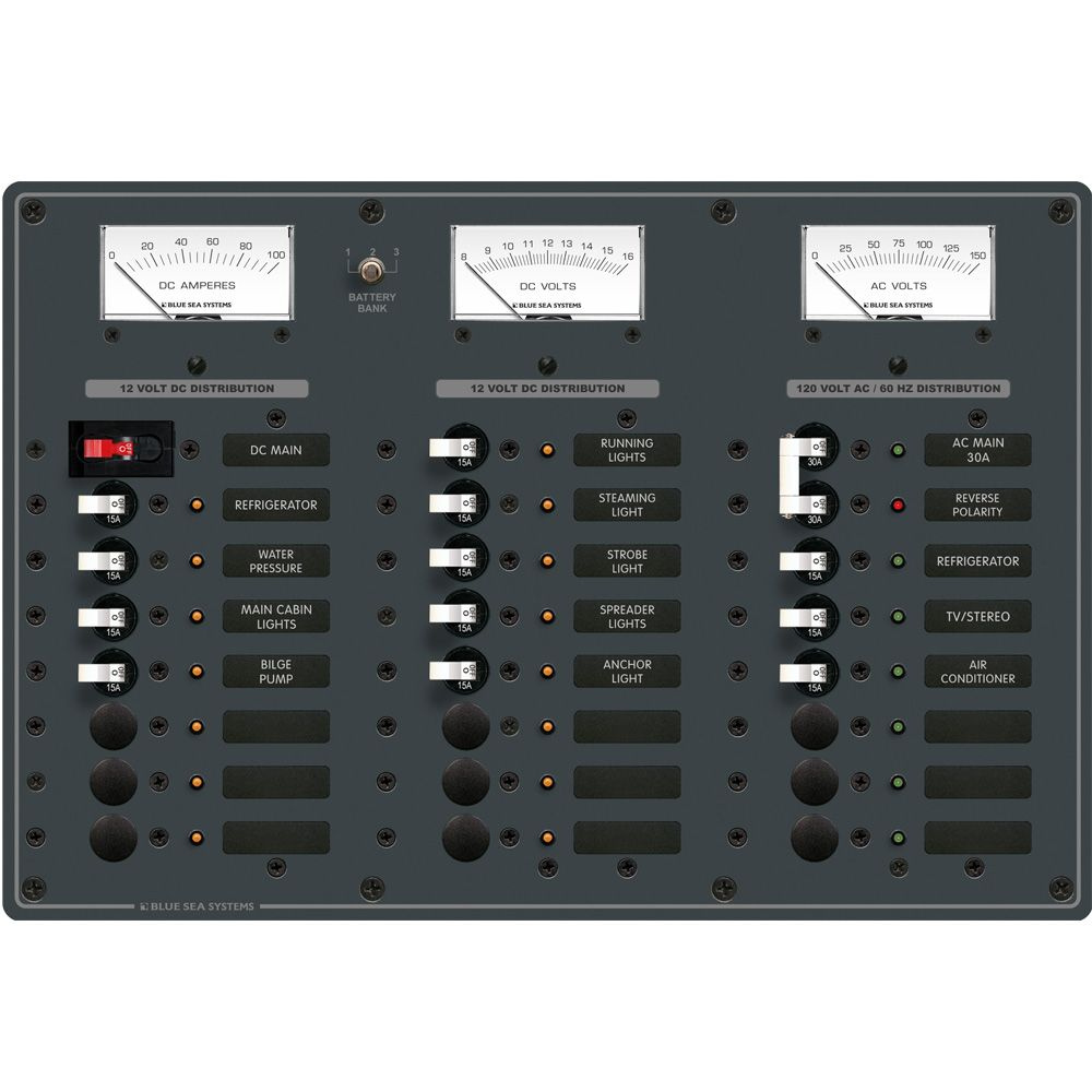 blue sea 8084 ac main 6 positions dc main 15 positions toggle blue sea 8084 ac main 6 positions dc main 15 positions toggle circuit breaker panel white switches