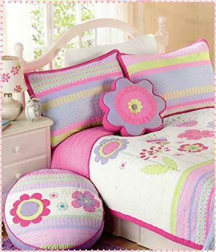 Toddler Bedding Set Floral 2pc Quilt Set Turquoise Purple Pink