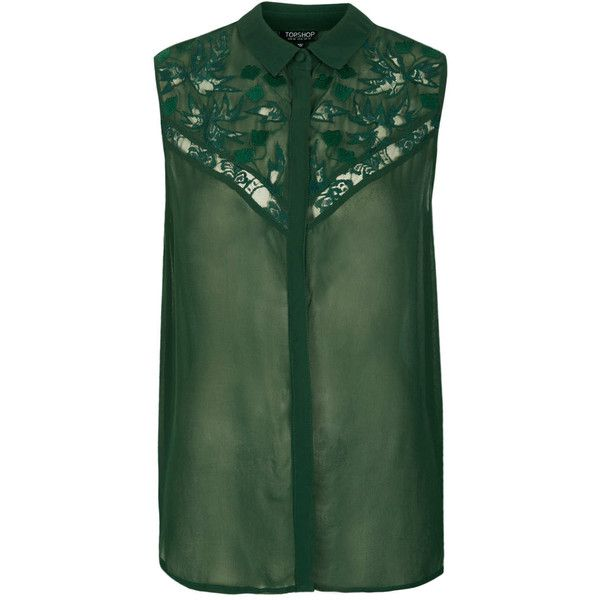 TOPSHOP Sleeveless Lace Shirt (£21) found on Polyvore