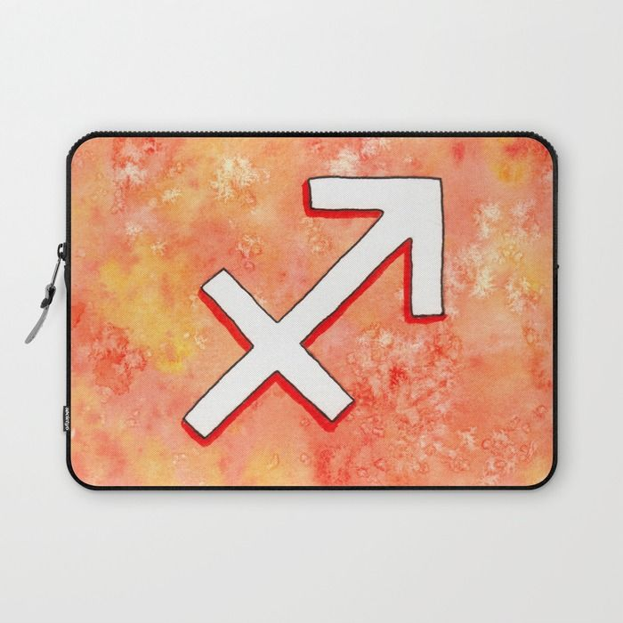 """Signe du Zodiaque : Sagittaire / Zodiac sign : Sagittarius"" Laptop Sleeve by Savousepate on Society6 #laptopsleeve #sagittarius #astrology #astrologicalsign #zodiacsign #white #orange #red"