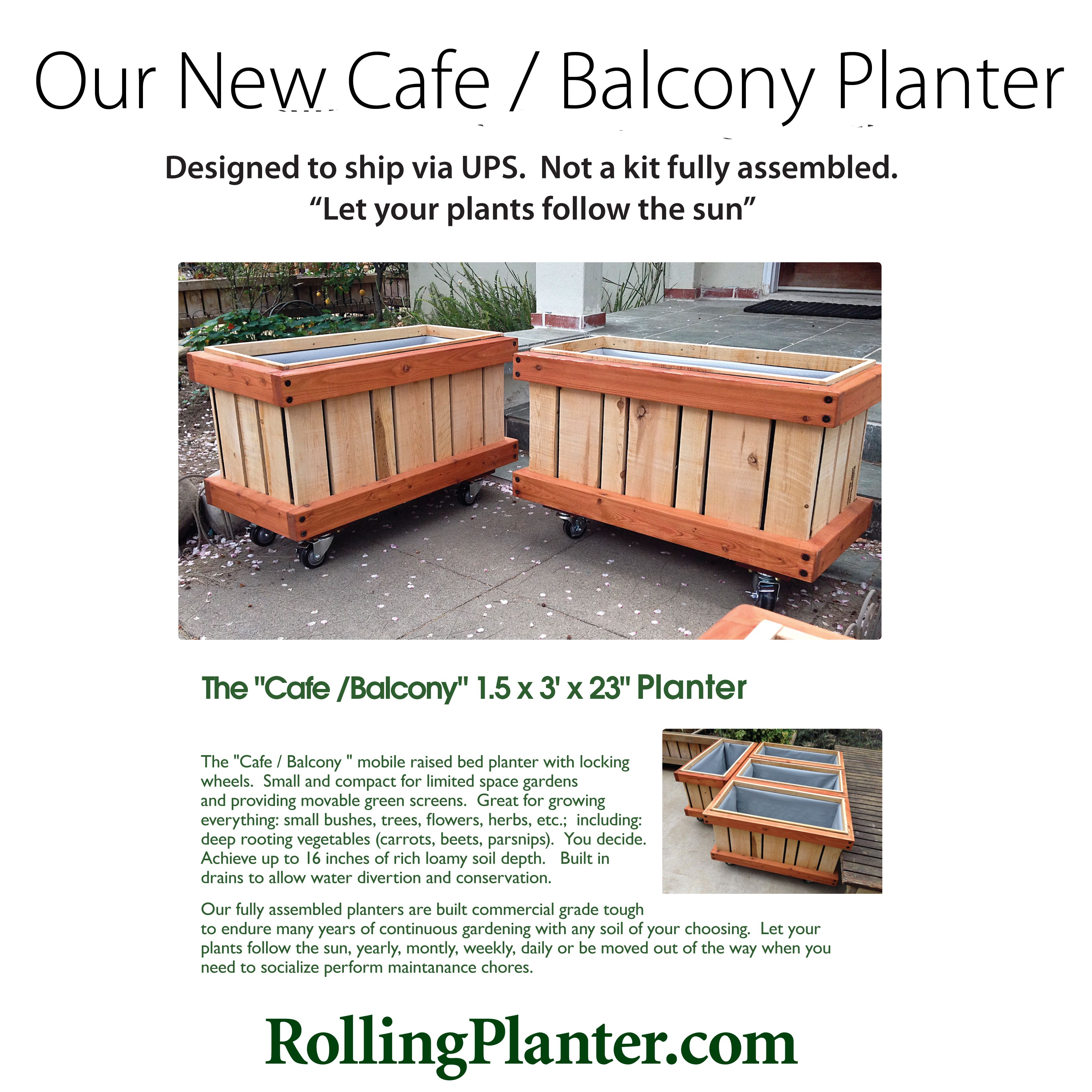 M Cafe 4 Sizes Commercial Quality Rolling Planter Stable And Able To Move Over Heavy Door Jambs Designed For Small Intima Raised Planter Beds