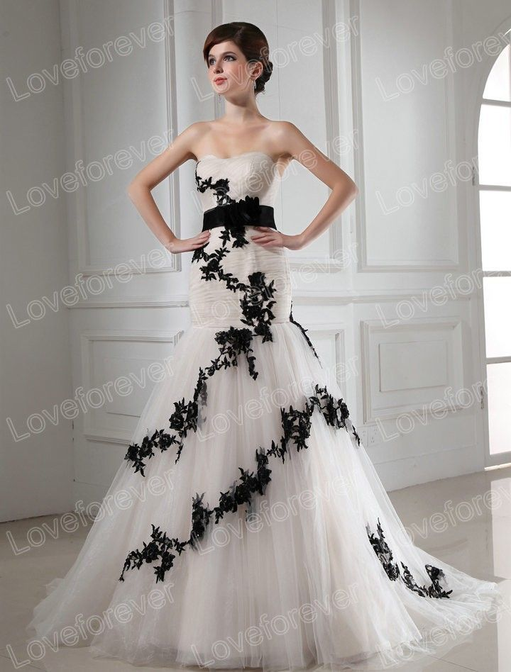 Black And White Wedding Dress-Ball Gown Wedding Dress With $167.00 ...