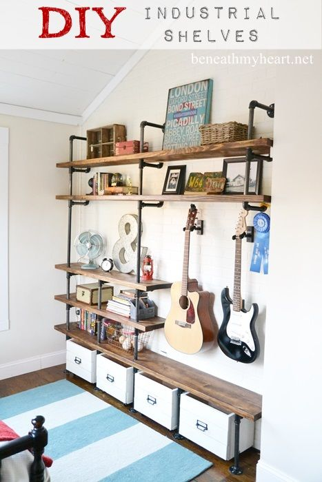 Love these! this looks like a perfect match between me and the hubs! DIY Industrial Shelves at beneathmyheart.net  #organization
