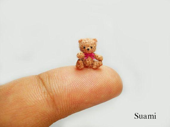 04 Inch Crochet Micro Bear Tiny Amigurumi Miniature Teddy Mohair