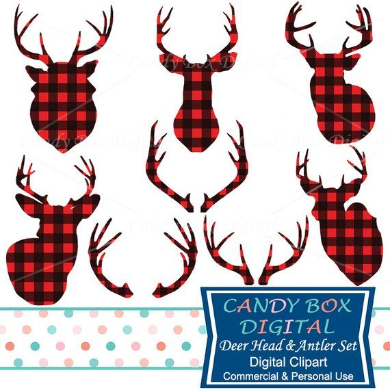 Deer head plaid. And antler clipart red