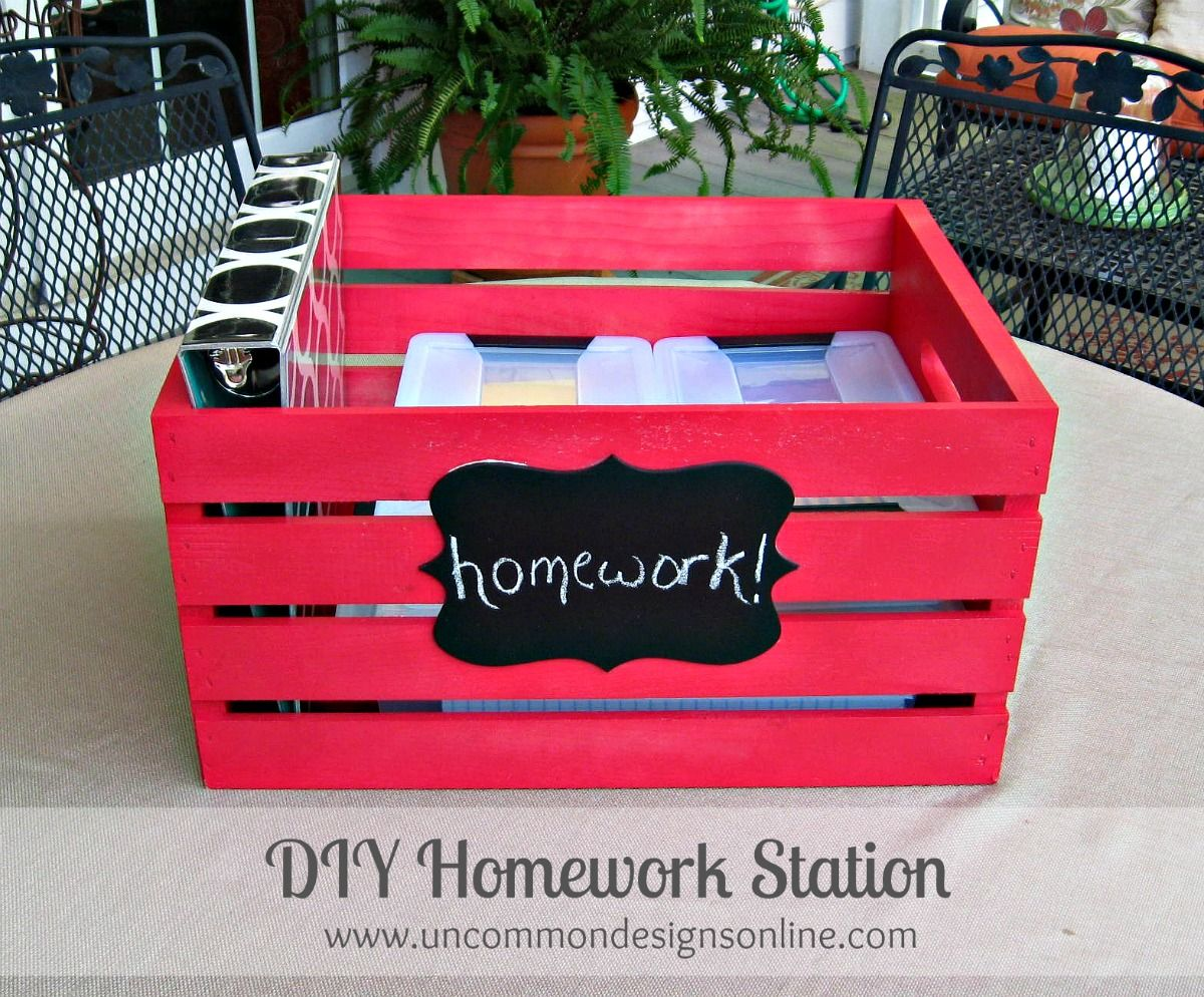 Homework Station { Portable DIY Crate -Great tips for parents at open house or in the classroom for centers!