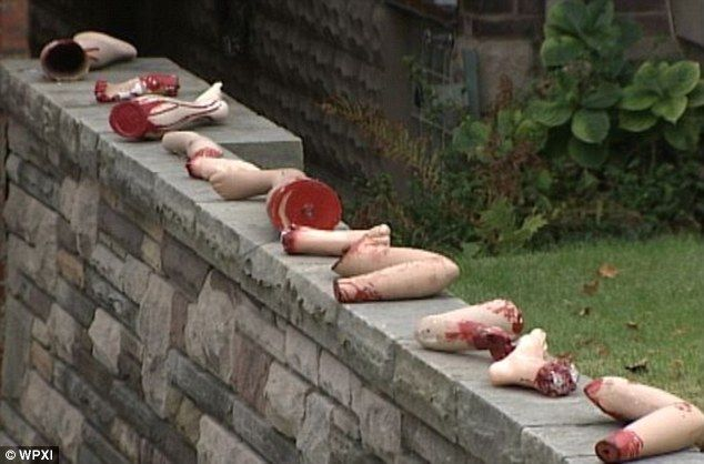 Grisly: Severed limbs line one of the walls alongside Joe D'Auria's family's home in Pittsburgh