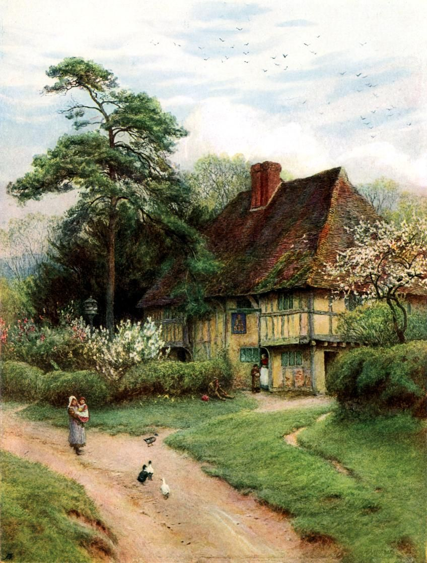 English country garden paintings - Hollingbourne Kent Old English Country Cottages 1906 Helen Allingham English 1848 Cottage Artcottage Gardenold