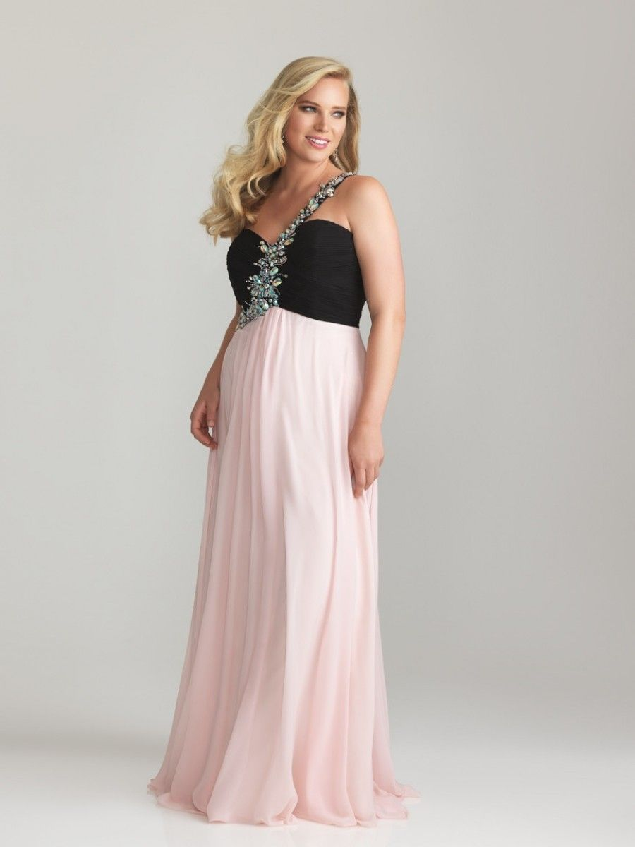 A Line One Shoulder Floor Length Chiffon Plus Size Evening Dress