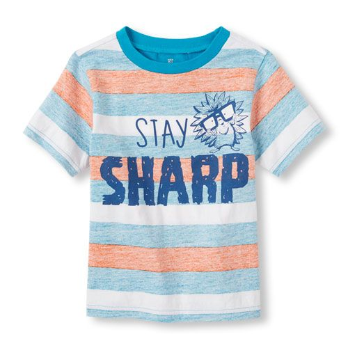 The Childrens Place Boys Graphic Striped Arm Top