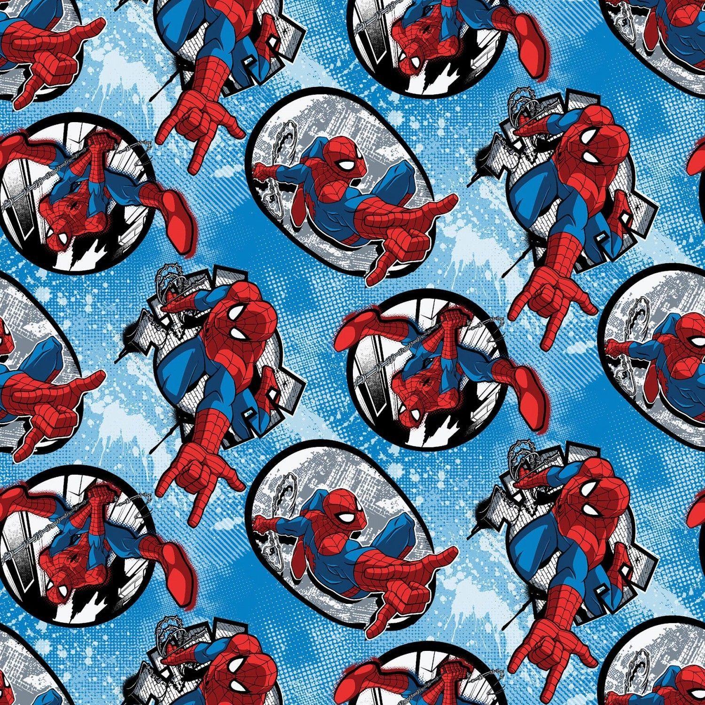 100/% Cotton Fabric Springs Creative Marvel Avengers Smash Logos Superheroes