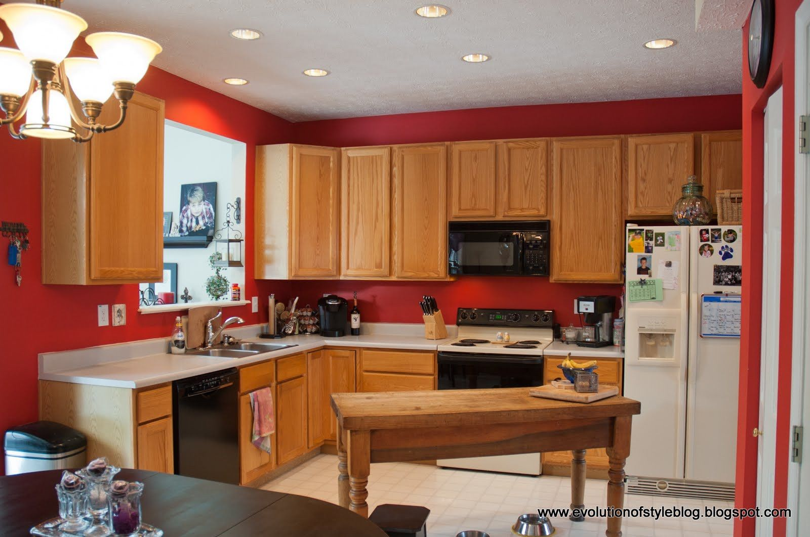 red kitchen walls with oak design decorating plus