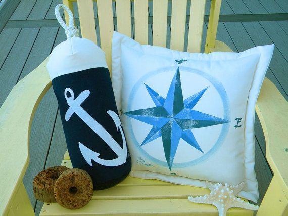 Buoy Bumper Indoor Outdoor Anchor Pillow Bumper Fishing Navy White Coastal  Sailing Boating SCUBA Ocean Nautical Crabby Chris Original